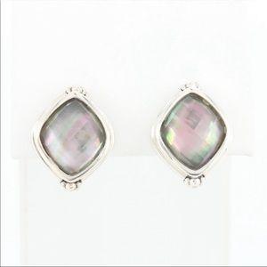 Michael Dawkins sterling silver quartz earrings.